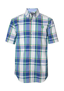 Boys 4-7 Short Sleeve Plaid Woven Shirt