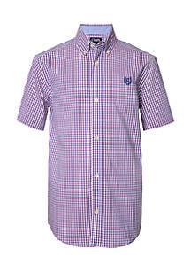 Boys 4-7 Short Sleeve Yarn Dye Gingham Woven Shirt