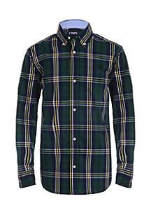 Boys 4-7 Long Sleeve Stretch Woven Plaid Shirt