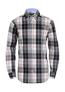 Boys 4-7 Long Sleeve Stretch Woven Plaid Shirt