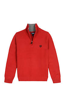 Boys 4-7 1/4 Zip Ottoman Stitch Sweater