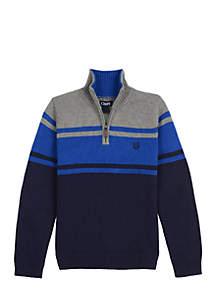 Boys 4-7 1/4 Zip Chest Stripe Sweater