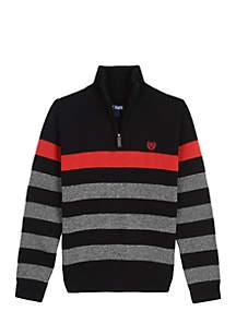 Boys 4-7 1/4 Zip Stripe Sweater