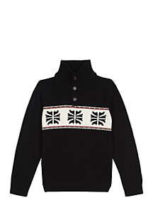 Boys 4-7 1/4 Button Snowflake Sweater