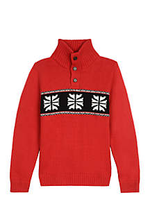 Boys 4-7 1/4 Button Snowflake Sweater