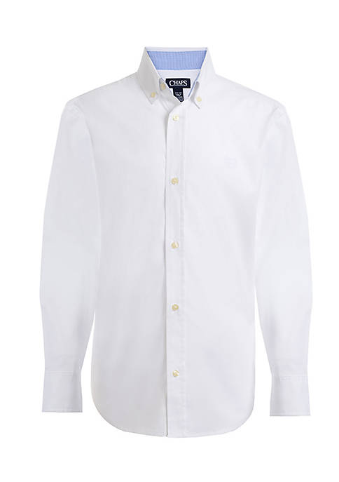 Chaps Poplin Woven Button-Front Shirt Boys 8-20