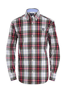 Boys 8-20 Long Sleeve Stretch Plaid Woven Shirt