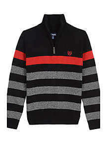 Boys 8-20 1/4 Zip Stripe Sweater