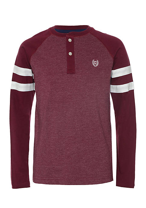 Chaps Boys 8-20 Long Stripe Sleeve Vincent Henley