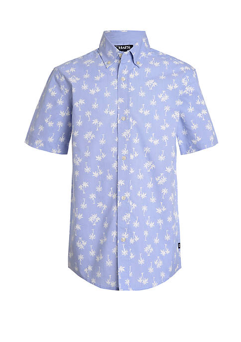 Boys 4-7 Short Sleeve Fashion Woven Palm Print Shirt