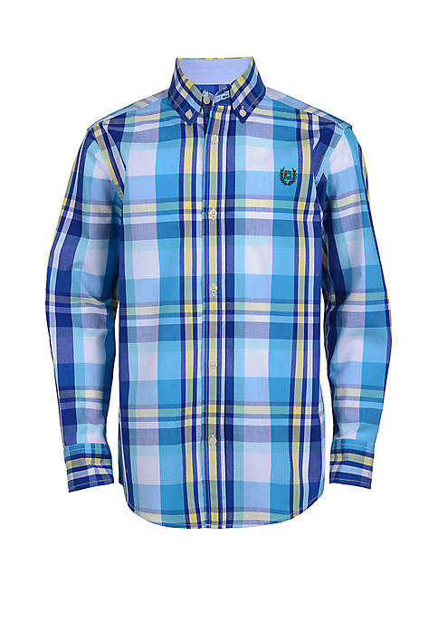 Chaps Boys 8-20 Long Sleeve Woven Plaid Shirt