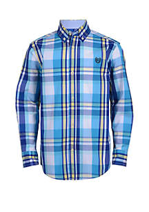 Chaps Boys 8-20 Long Sleeve Woven Plaid Shirt