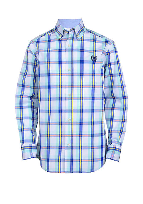 Boys 4-7 Long Sleeve Woven Plaid Shirt