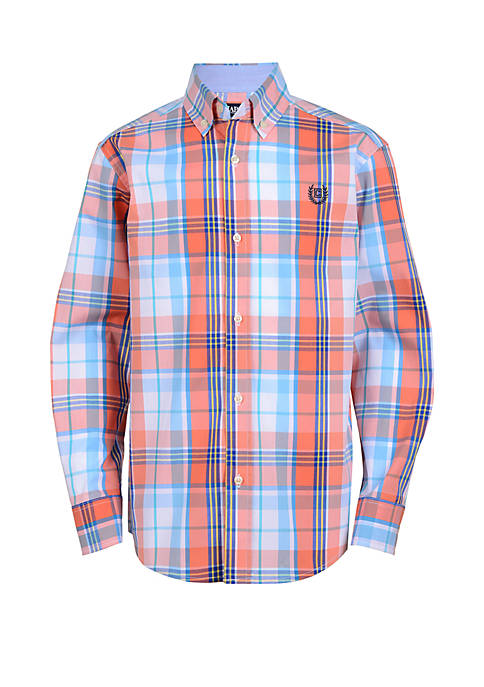 Boys 4-7 Long Sleeve Plaid Woven Shirt
