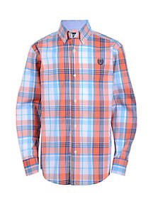 Chaps Boys 4-7 Long Sleeve Plaid Woven Shirt