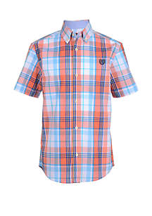 Chaps Boys 8-20 Jeremy Short Sleeve Woven Plaid Shirt
