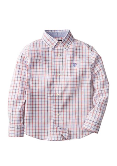 Boys 4-7 Long Sleeve Windowpane Woven Shirt
