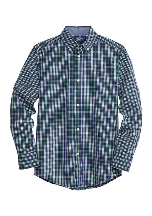 Chaps Boys 8-20 Yarns Tattersall Stretch Shirt