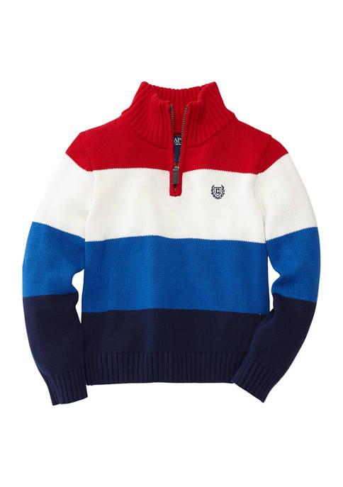 Chaps Boys 4-7 Textured Stripe 1/4 Zip Pullover