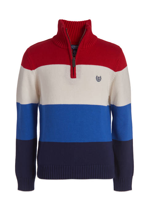 Chaps Boys 8-20 Stripe Zip Neck Sweater