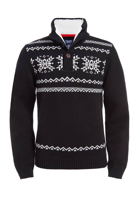 Boys 8-20 Snowflake Fairisle Button Up Sweater