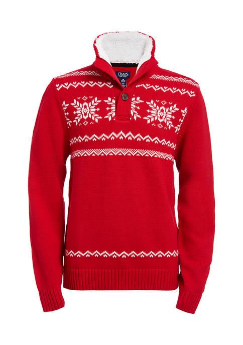 Chaps Boys 8-20 Snowflake Fairisle Button Up Sweater