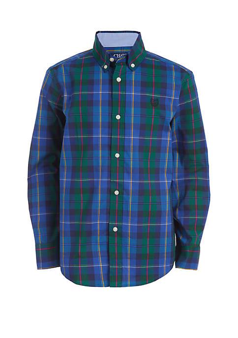 Boys 8-20 Long Sleeve Plaid Woven Button Down Shirt