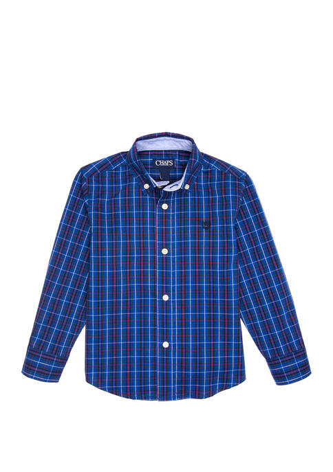 Chaps Boys 4-7 Long Sleeve Plaid Woven Shirt