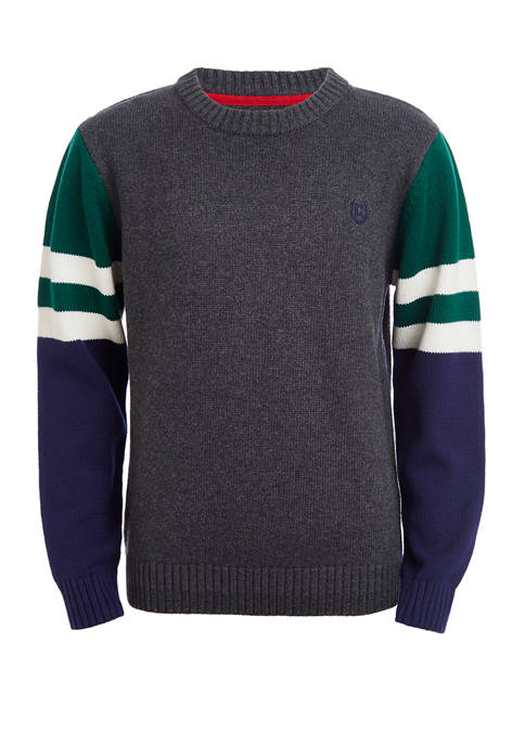 Boys 4-7 Crew Neck Sweater with Sleeve Detail