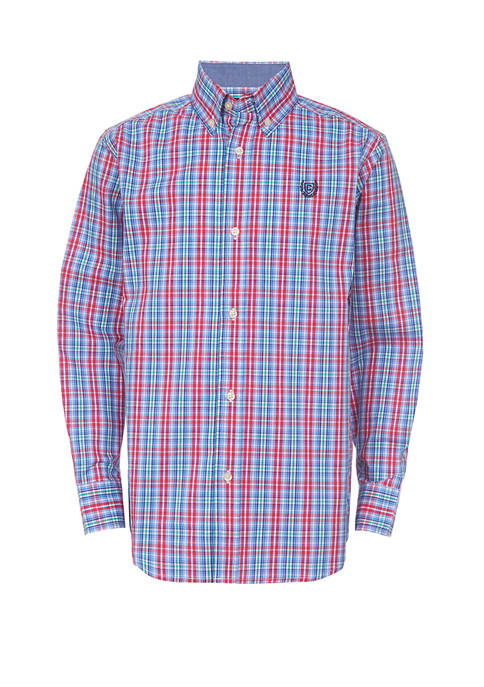 Chaps Boys 4-7 Long Sleeve Woven Plaid Shirt