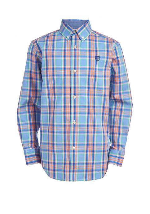 Chaps Boys 4-7 Stretch Spring Plaid Woven Shirt