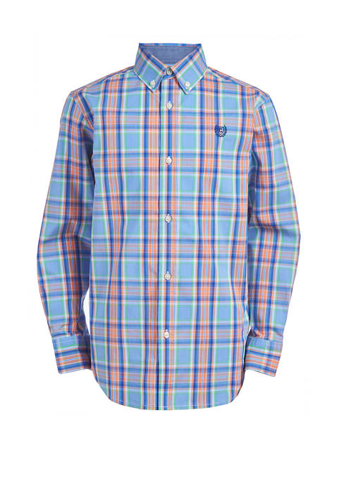 Chaps Boys 8-20 Long Sleeve Stretch Spring Plaid