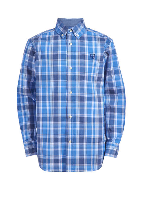 Chaps Boys 4-8 Long Sleeve Stretch Plaid Shirt