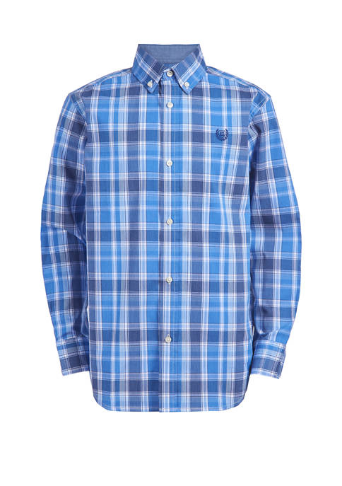 Boys 8-20 Long Sleeve Stretch Denim Plaid Woven Shirt