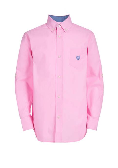 Boys 8-20 Long Sleeve Stretch Chambray Woven Shirt