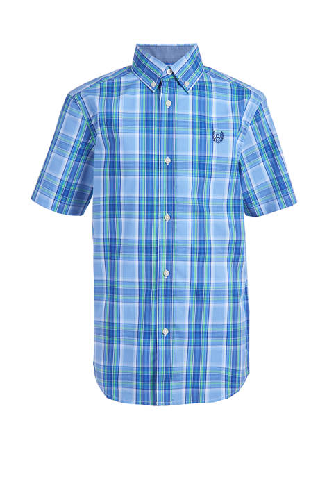 Boys 4-7 Short Sleeve Stretch Spring Plaid Woven Button Down Shirt