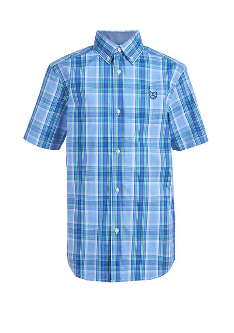 Chaps Boys 8-20 Short Sleeve Stretch Spring Plaid