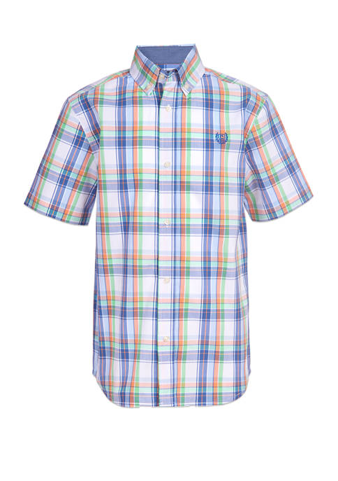 Chaps Boys 8-20 Short Sleeve Stretch White Ground