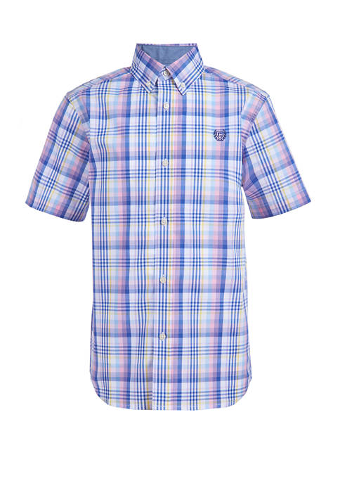 Boys 4-7 Short Sleeve Stretch Ombre Plaid Woven Button Down Shirt