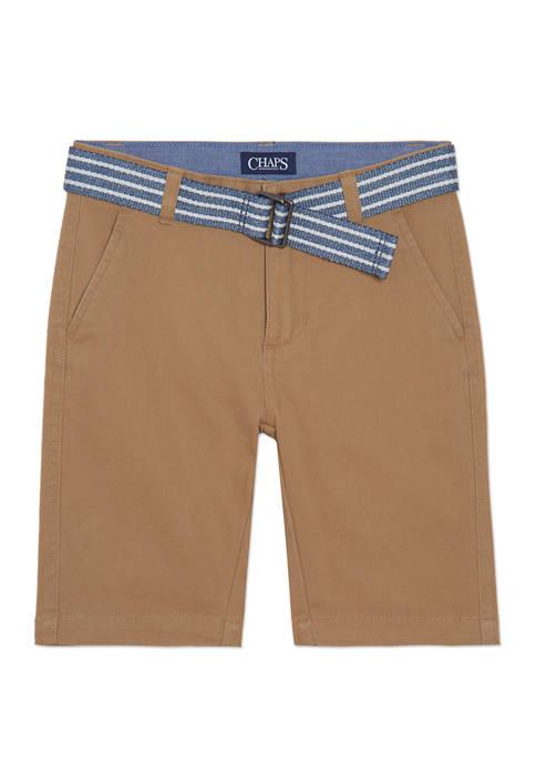 Boys 4-7 Stretch Twill Shorts with Belt