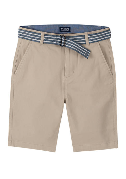 Chaps Boys 8-20 Stretch Twill Shorts with Belt