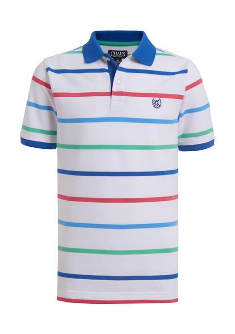 Chaps Boys 8-20 Spring Stripe Piqué Polo Shirt