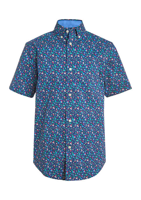 Boys 4-7 Dark Ground Floral Print Shirt