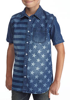 Hollywood® The Jean People Flag Print Chambray Button-Front Shirt Boys 8-20