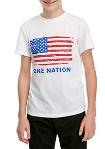 ZELOS Boys 8-20 One Nation Flag Americana Graphic Tee