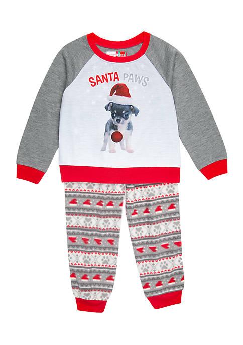 MERRY Wear Boys 4-20 Santa Paws Pajama Set