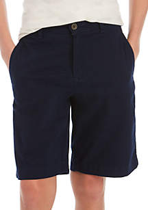 Crown & Ivy™ Boys 8-20 Flat Front Twill Harbor Navy Shorts