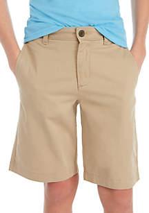 Crown & Ivy™ Boys 8-20 Flat Front Twill Hetch Khaki Shorts