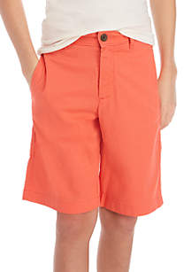 Crown & Ivy™ Boys 8-20 Flat Front Twill Coralista Shorts