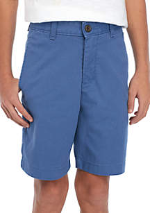 Crown & Ivy™ Boys 8-20 Flat Front Twill Colony Blue Shorts